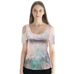 Cold Stone Abstract Butterfly Sleeve Cutout Tee