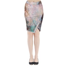 Cold Stone Abstract Midi Wrap Pencil Skirt