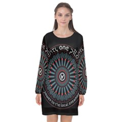Twenty One Pilots Long Sleeve Chiffon Shift Dress