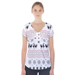 Ugly Christmas Humping Short Sleeve Front Detail Top