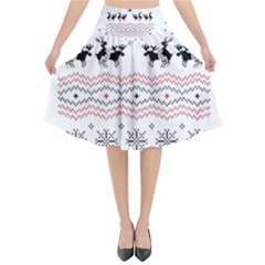 Ugly Christmas Humping Flared Midi Skirt