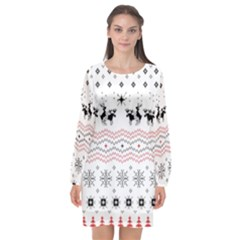 Ugly Christmas Humping Long Sleeve Chiffon Shift Dress