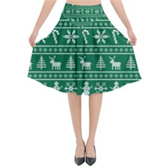 Ugly Christmas Flared Midi Skirt