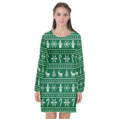 Ugly Christmas Long Sleeve Chiffon Shift Dress