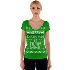 Ugly Christmas Sweater Women s V-Neck Cap Sleeve Top