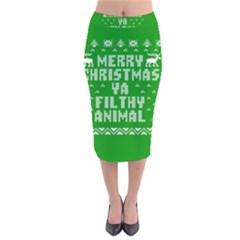 Ugly Christmas Sweater Velvet Midi Pencil Skirt