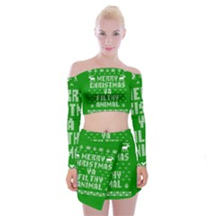 Ugly Christmas Sweater Off Shoulder Top with Skirt Set