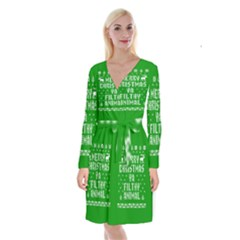 Ugly Christmas Sweater Long Sleeve Velvet Front Wrap Dress
