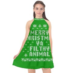 Ugly Christmas Sweater Halter Neckline Chiffon Dress