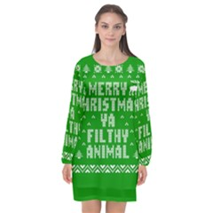 Ugly Christmas Sweater Long Sleeve Chiffon Shift Dress