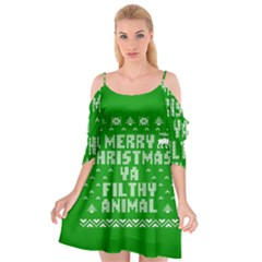 Ugly Christmas Sweater Cutout Spaghetti Strap Chiffon Dress