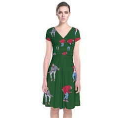Drake Ugly Holiday Christmas Short Sleeve Front Wrap Dress