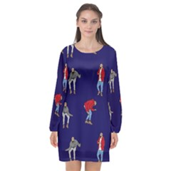 Drake Ugly Holiday Christmas Long Sleeve Chiffon Shift Dress