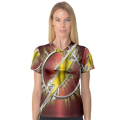 Flash Flashy Logo Women s V-Neck Sport Mesh Tee