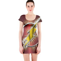 Flash Flashy Logo Short Sleeve Bodycon Dress