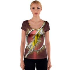 Flash Flashy Logo Women s V-Neck Cap Sleeve Top