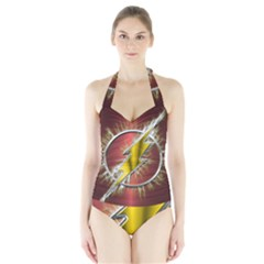 Flash Flashy Logo Halter Swimsuit