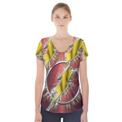 Flash Flashy Logo Short Sleeve Front Detail Top