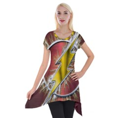 Flash Flashy Logo Short Sleeve Side Drop Tunic