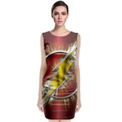 Flash Flashy Logo Sleeveless Velvet Midi Dress