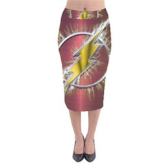 Flash Flashy Logo Velvet Midi Pencil Skirt