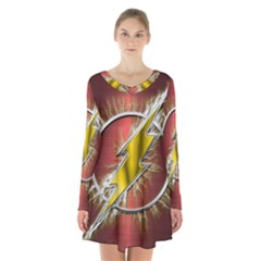 Flash Flashy Logo Long Sleeve Velvet V-neck Dress