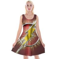 Flash Flashy Logo Reversible Velvet Sleeveless Dress