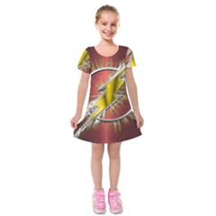 Flash Flashy Logo Kids  Short Sleeve Velvet Dress