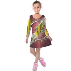 Flash Flashy Logo Kids  Long Sleeve Velvet Dress