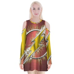 Flash Flashy Logo Velvet Long Sleeve Shoulder Cutout Dress