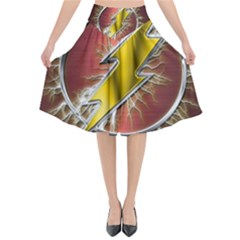 Flash Flashy Logo Flared Midi Skirt