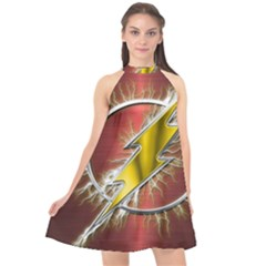Flash Flashy Logo Halter Neckline Chiffon Dress