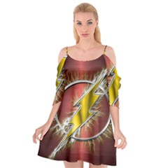 Flash Flashy Logo Cutout Spaghetti Strap Chiffon Dress