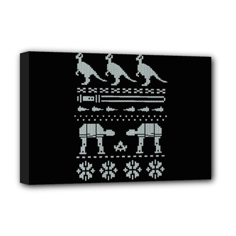 Holiday Party Attire Ugly Christmas Black Background Deluxe Canvas 18  x 12