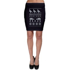 Holiday Party Attire Ugly Christmas Black Background Bodycon Skirt