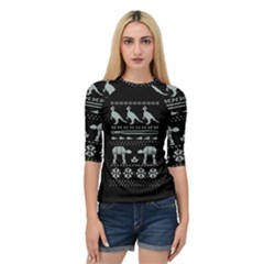 Holiday Party Attire Ugly Christmas Black Background Quarter Sleeve Tee