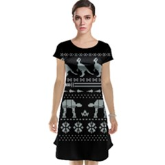 Holiday Party Attire Ugly Christmas Black Background Cap Sleeve Nightdress