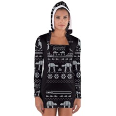 Holiday Party Attire Ugly Christmas Black Background Women s Long Sleeve Hooded T-shirt