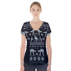 Holiday Party Attire Ugly Christmas Black Background Short Sleeve Front Detail Top