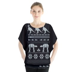 Holiday Party Attire Ugly Christmas Black Background Blouse