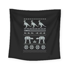 Holiday Party Attire Ugly Christmas Black Background Square Tapestry (Small)