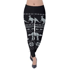 Holiday Party Attire Ugly Christmas Black Background Velvet Leggings