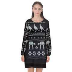 Holiday Party Attire Ugly Christmas Black Background Long Sleeve Chiffon Shift Dress