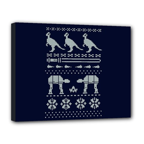 Holiday Party Attire Ugly Christmas Blue Background Canvas 14  x 11