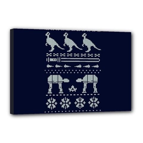Holiday Party Attire Ugly Christmas Blue Background Canvas 18  X 12