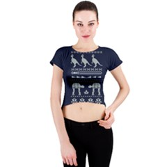 Holiday Party Attire Ugly Christmas Blue Background Crew Neck Crop Top