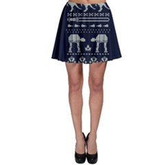 Holiday Party Attire Ugly Christmas Blue Background Skater Skirt