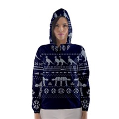 Holiday Party Attire Ugly Christmas Blue Background Hooded Wind Breaker (Women)