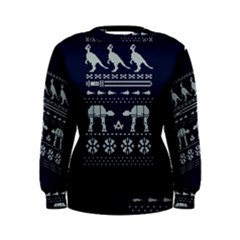 Holiday Party Attire Ugly Christmas Blue Background Women s Sweatshirt