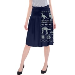 Holiday Party Attire Ugly Christmas Blue Background Midi Beach Skirt